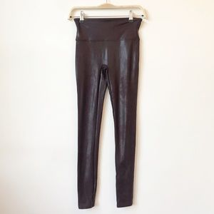 Spanx Faux Leather Leggings in Wine Red